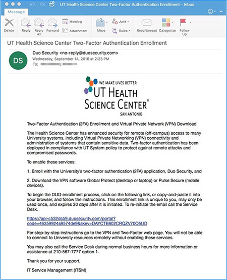 image of two factor enrollment email