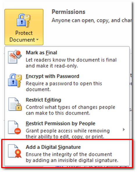Use your digital certificate with Microsoft Word 2010