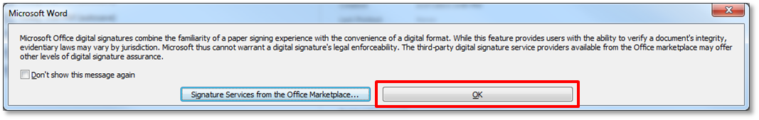 use your digital certificate with microsoft word 2010 information