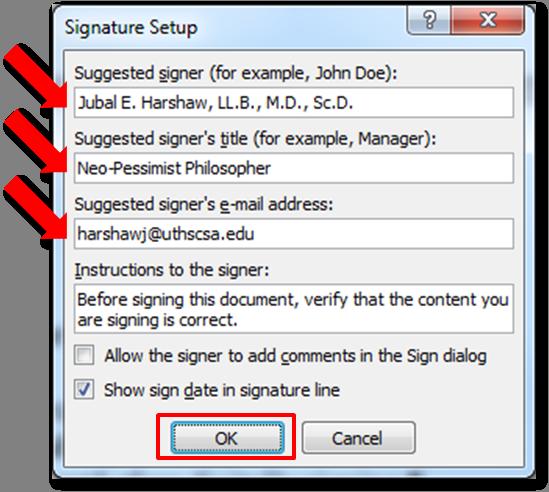 add a signature in word